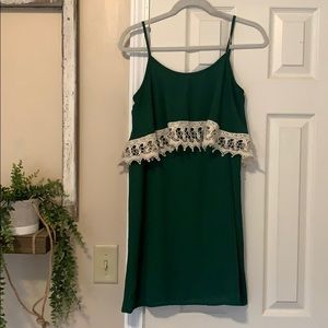 Adorable Green Slip Dress with Lace Detail